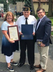Morris County Freeholder Kathy DeFillippo, and Assemblyman Anthony Bucco, right, with Post Commander Frank P. Galka at the 100th anniversary of Dover American Legion Post 27. June 1, 2019.
