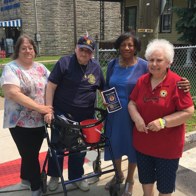 Alderman Carolyn Blackman, second from right, with Dover Veteran Jerry Gross and his wife, Rosemary Gross, at the 100th anniversary of Dover American Legion Post 27. June 1, 2019.