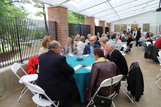 At the dedication for a new $7.6 million kennel facility at the Seeing Eye headquarters in Morris Township, June 13, 2019: A luncheon was held for guests in one of the four the new outdoor play areas in the newly dedicated Robert H. Harris Canine Pavilion.