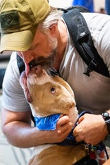 Retired Sgt. Major Chris Self embraces Franky at Nashville International Airport Friday, June 14, 2019, in Nashville, Tenn. Franky had his ears amputated after suffering from abuse and when Self heard his story he knew he wanted to adopt him. Self lost his leg in combat and returned from Afghanistan as civilian consultant.