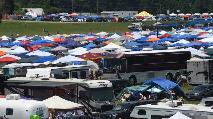 Overall of the campground from the Ferris Wheel on Friday, June 14, during the Bonnaroo Music and Arts Festival in Manchester, Tenn.