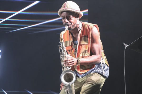 Shabaka Hutchings of The Comet is Coming plays saxophone at This Tent at Bonnaroo on Thursday, June 13, 2019 in Manchester, Tenn.