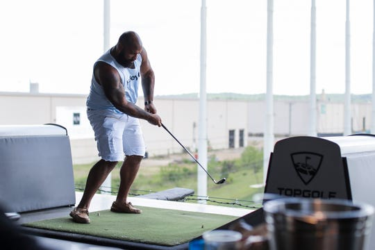 DaQuan Jones of the Tennessee Titans during the team outing to Topgolf in Nashville on June 13, 2019.