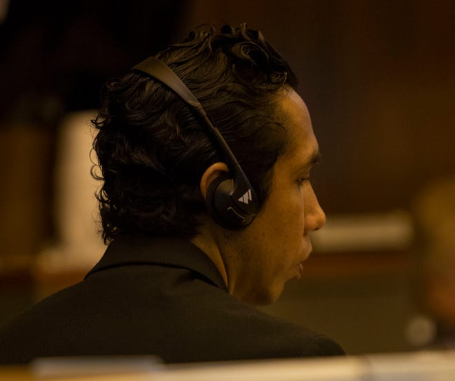 Pedro Silva-Diaz listens to a court interpreter during the closing arguments of a jury trial at the Collier County Courthouse on June 14, 2019. Silva-Diaz, 34, was driving a Toyota Tundra the night of Nov. 10, 2017, when his vehicle struck Shayden Colvin near the intersection of Lakewood Boulevard and Estey Avenue.
