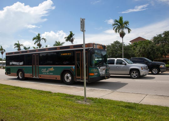 A Collier Area Transit bus passes a stop, Friday, June 14, 2019, along Immokalee Road in North Naples.