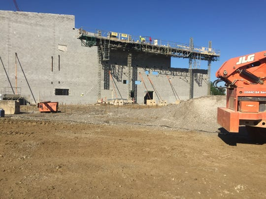 A side view of the emerging auditorium of the new Licking Heights High School.