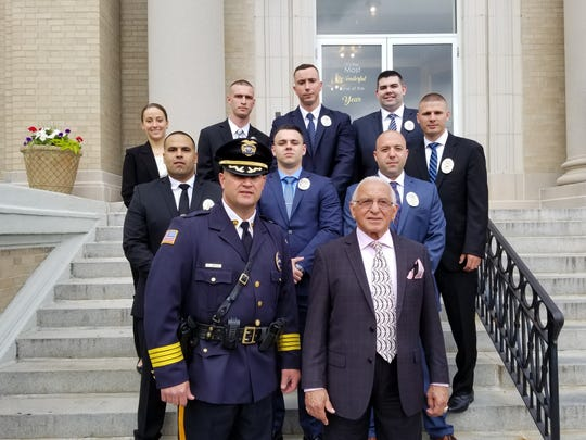 On Thursday, June 13, Lyndhurst Police Chief Richard Jarvis and Mayor Robert Giangeruso, front row, induct eight recruits to the Lyndhurst Police Department last Thursday. Back row, from left, are Nicollette Villani, Michael Clifford, Glenn Flora and Thomas Seickendick. Middle row, from left, are Angel Batista and Anthony Giaquinto and Michael D'Alessandro.