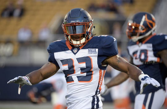 In this March 16, 2019, photo, Orlando Apollos defensive back Mark Myers Jr. (23) warms up before an AAF football game against the Arizona Hotshots Saturday, in Orlando, Fla.  The New York Jets on Thursday, June 13, 2019, have signed Myers and waived safety John Battle.