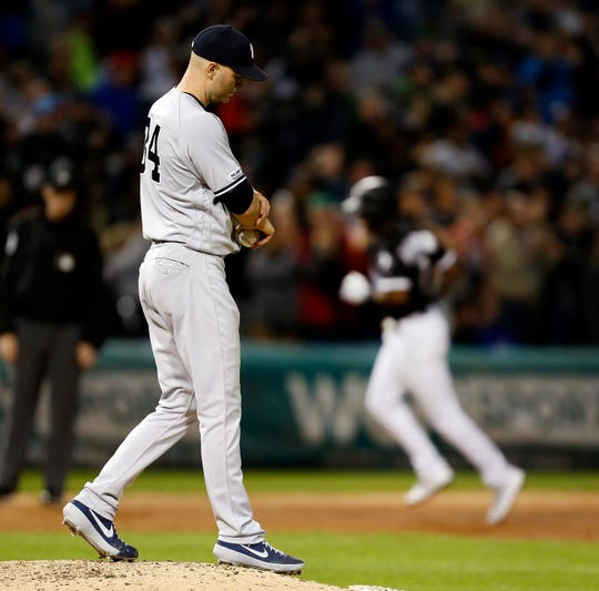 New York Yankees starting pitcher J.A. Happ reacts after giving up a three-run home run to Chicago White Sox's Tim Anderson during the fifth inning of a baseball game Thursday, June 13, 2019, in Chicago. (AP Photo/Nuccio DiNuzzo)
