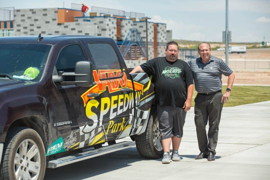 Royal Jones, the owner of Vado Speedway Park and  Rue Stone, the general manager, are pictured ahead of the soft opening of the speedway in Vado on Thursday, June 13, 2019.