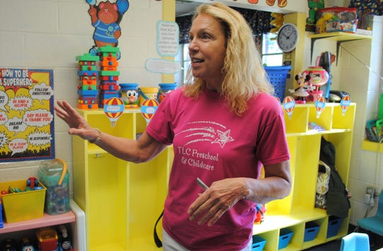 Ingrid Crepeau, TLC's longtime director, standing in a classroom at the daycare where he career got its start.