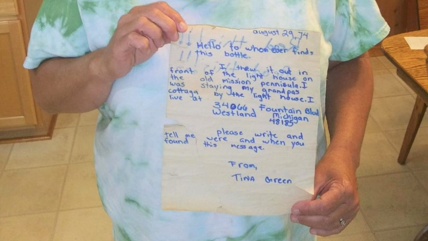 An 11-year-old sets a letter in a bottle adrift; it gets returned 45 years later
