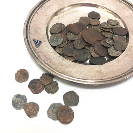 Low-value Spanish coins recovered as pirate treasure.