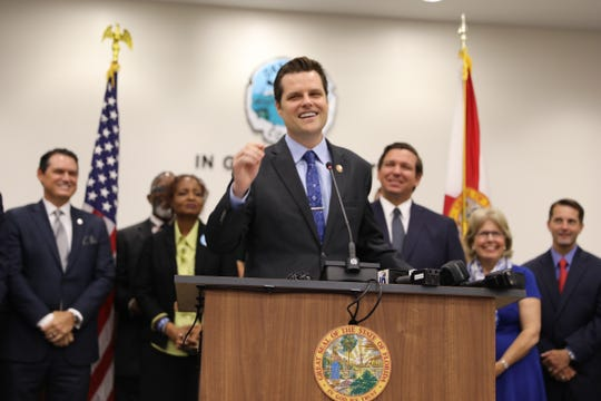 U.S. Rep. Matt Gaetz speaks Friday at a news conference in Shalimar at which Gov. Ron DeSantis signed a bill prohibiting state and local governments from having sanctuary policies.