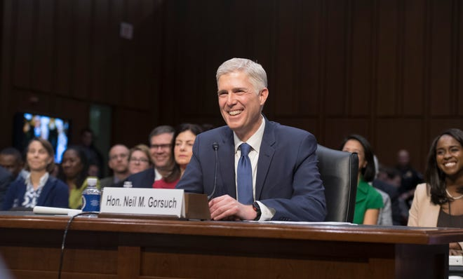 Supreme Court nominee Neil Gorsuch testifies before the Senate Judiciary Committee during his confirmation hearing in Washington, on March 20, 2017.
