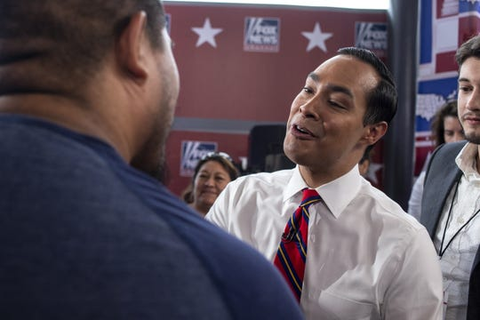 2020 Democratic Presidential candidate Julian Castro greets audience members after FOX News Channel's America's Election HQ Town Hall on Thursday, June 13, 2019, at the Tempe Center for the Arts in Tempe, Ariz.