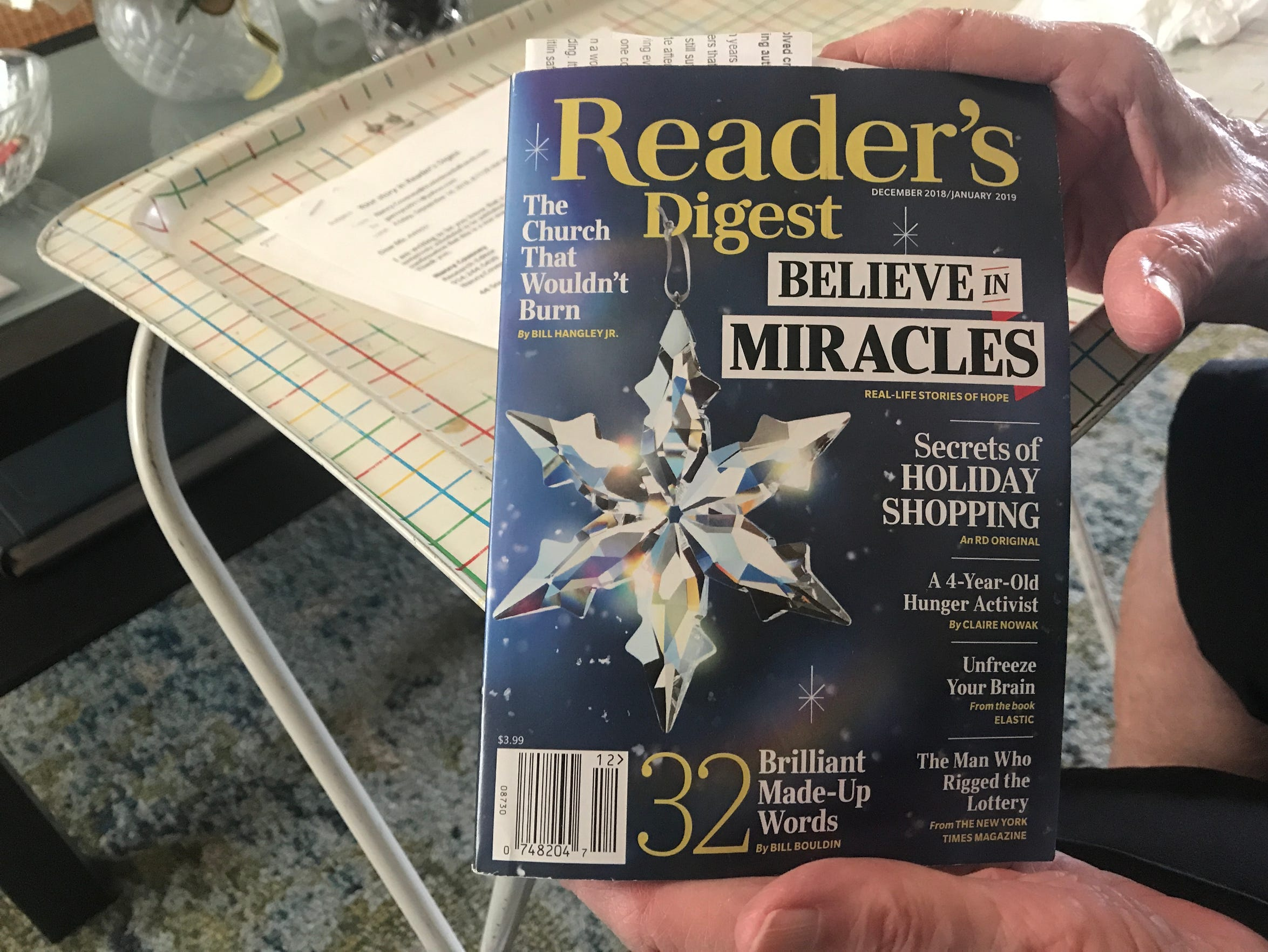 Gloria Arrroyo, an 89-year-old Phoenix woman, holds the December 2018/January 2019 Reader's Digest magazine. A story she submitted in 2017 was featured in the magazine.