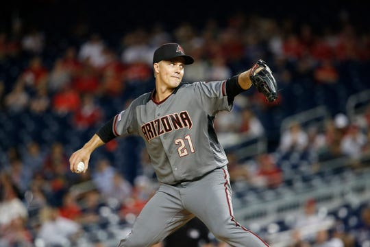 Jun 13, 2019; Washington, DC, USA; Arizona Diamondbacks starting pitcher Zack Greinke (21) throws the ball during the seventh inning against the Washington Nationals at Nationals Park. Mandatory Credit: Amber Searls-USA TODAY Sports