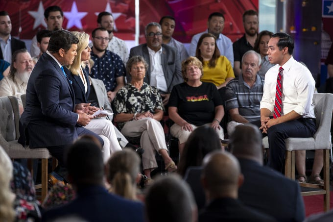 2020 Democratic Presidential candidate Julian Castro speaks during FOX News Channel's America's Election HQ Town Hall on Thursday, June 13, 2019, at the Tempe Center for the Arts in Tempe, Ariz.