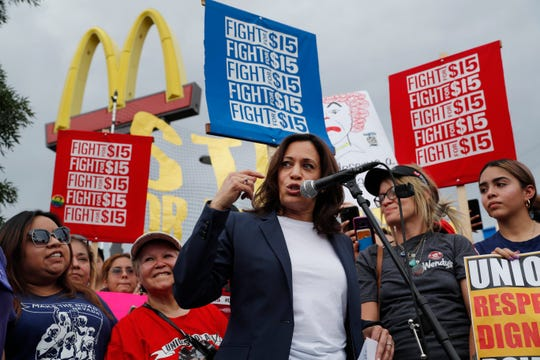 Democratic presidential candidate Sen. Kamala Harris, D-Calif., speaks to McDonald's employees protesting outside of a McDonald's, Friday, June 14, 2019, in Las Vegas. (AP Photo/John Locher)