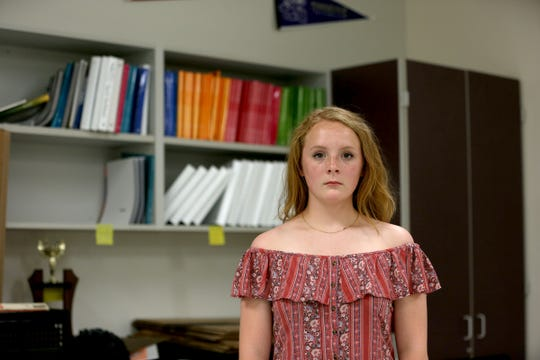 Student Claire Campbell, 14, wears a dress that shows her shoulders at Leslie Middle School in Salem on June 13, 2019. Campbell has been vocal on the district's dress code restrictions and spoke at the last Salem-Keizer School Board meeting.