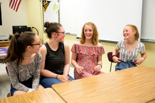 Students leading a movement to change the Salem-Keizer dress code talk about their summer plans at Leslie Middle School in Salem on June 13, 2019. The students say the dress code is too restrictive and negatively geared toward sexualizing girls.