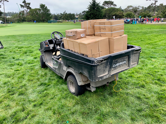 A box on this golf cart fell onto the accelerator, sending it careening into a crowd, injuring five people and sending two of them to the hospital Friday at the U.S. Open at Pebble Beach Golf Links, the California Highway Patrol said.