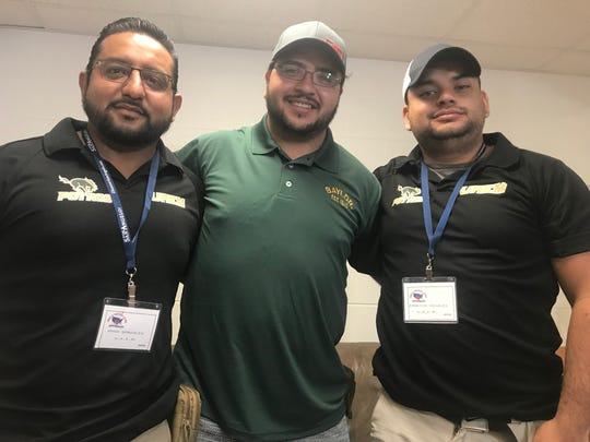 Football coaches from the Universidad Autónoma del Estado de México who regularly attend the Angelo Football Clinic include Hugo Gonzalez, from left to right, Luis Hernandez and Carlos Rosales.