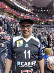 Tony Ferrara sports an Andre Collins professional jersey at Game 1 of the NBA Finals featuring the Toronto Raptors and Golden State Warriors.