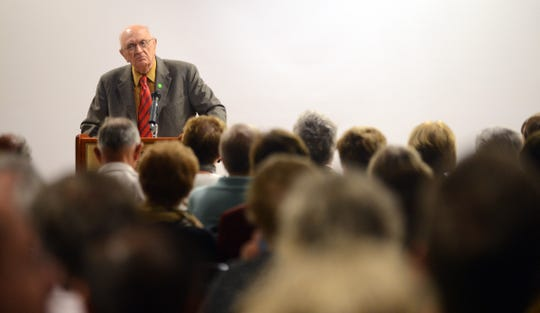 Accomack Board Chairman Jack Gray speaks to a large crowd at the State of the Shore event at Eastern Community College in Melfa, Virginia on Tuesday, April 15, 2014.