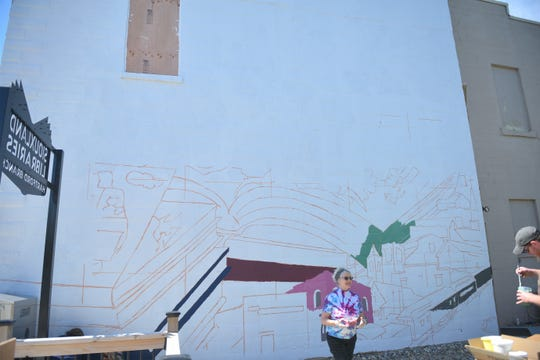 The Hartford community mural will take two weekends to complete: one for the bottom half and the other for the top.