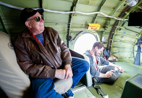 Springfield resident Phil Hall, a retired U.S. Air Force captain, talks about his time in the Air Force inside Doc, a World War II era B-29 Superfortress, that made a stop at the Springfield-Branson National Airport on Friday, June 14, 2019.