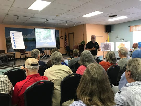 Missouri State Parks Director Ben Ellis talks about the future of Bryant Creek State Park during a public meeting in Ava on June 11.