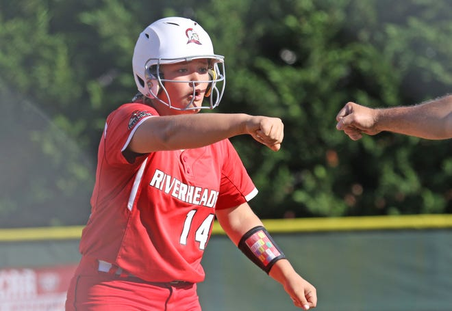 Riverheads' Cheyenne Deming makes it to first in the semifinal game against Auburn in the VHSL Class 1A state softball tournament in Radford on Thursday, June 13, 2019. Deming hit a homerun in the 4th inning of the game.