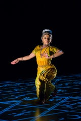 A dancer from Ragamala Dance Co. finds her mark.