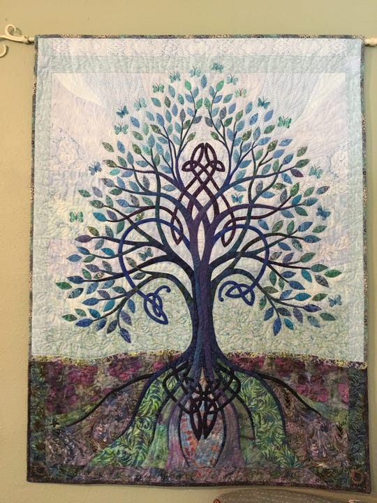 Celtic design finds its way into many of O'Sullivan's quilts. She has dozens of books featuring Celtic patterns such as spirals.