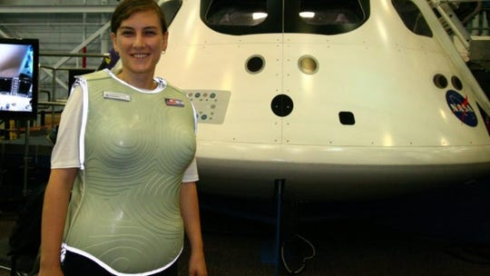 Dana Vaisler of StemRad wearing the AstroRad space vest that will be tested in deep space on the Orion EM-1 flight