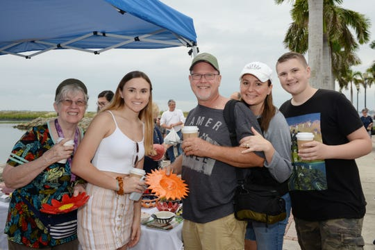 Barbara, left, Hannah, Kevin, Christie and Josh Krueger at Treasure Coast Food Bank's Empty Bowls event in downtown Fort Pierce.