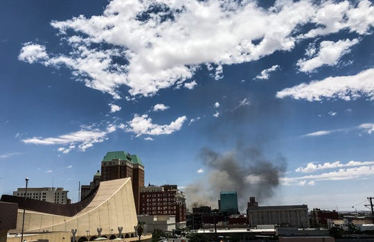 Smoke from the fire at W. Silver Recycling in South-Central El Paso on Friday, June 14, 2019, could be seen from Downtown.