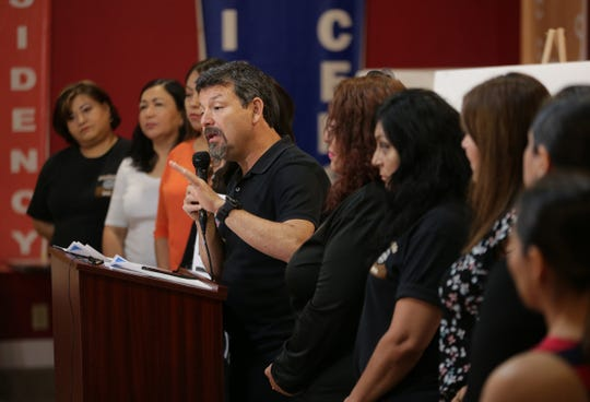 Border Network for Human Rights Executive Director Fernando Garcia releases the findings of a study on migrant abuse during a news conference Friday, June 14, 2019, at the BNHR headquarters.