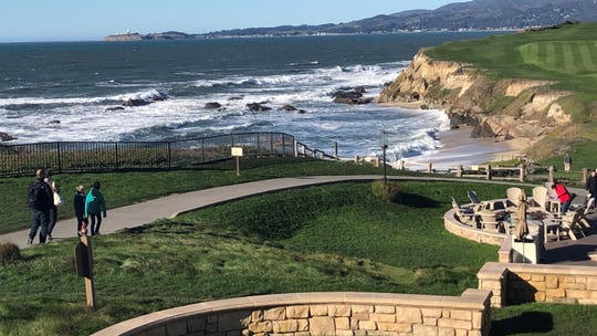 This Dec. 27, 2018 photo, shows the beach below the Ritz-Carlton Hotel in Half Moon Bay. The California Coastal Commission levied a $1.6 million fine against the hotel for violating California laws requiring public coastal access.