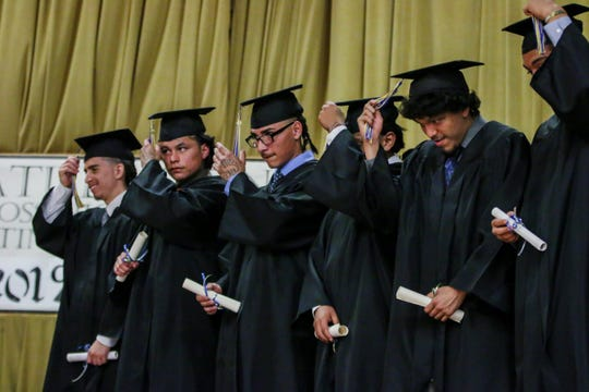 Members of the Johanna Boss High School Class of 2019 officially shift their tassels as they graduate at the O.H. Close Youth Correctional Facility in Stockton.