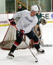 Trevor Zegras practices at the Brewster Ice Arena June 12,  2019. The Bedford resident is expected to be drafted in the upcoming NHL draft.