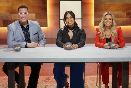 "Host Ayesha Curry, center, with judges Graham Elliot. left, and Cat Cora, right, are judges on the new ABC show ""Family Food Fight."""