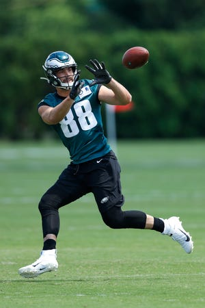 Philadelphia Eagles' Dallas Goedert catches a pass during a drill during organized team activities at the NFL football team's practice facility, Monday, June 3, 2019, in Philadelphia.