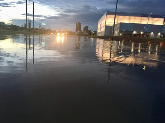 South Market Street was one of numerous roads closed in Wilmington due to flooding on Thursday.