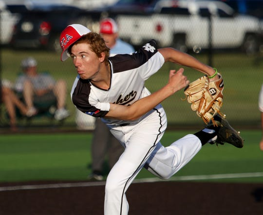 Archer City's Connor Byrd pitches in the Fellowship of Christian Athletes baseball game Thursday, June 13, 2019, in Iowa Park.