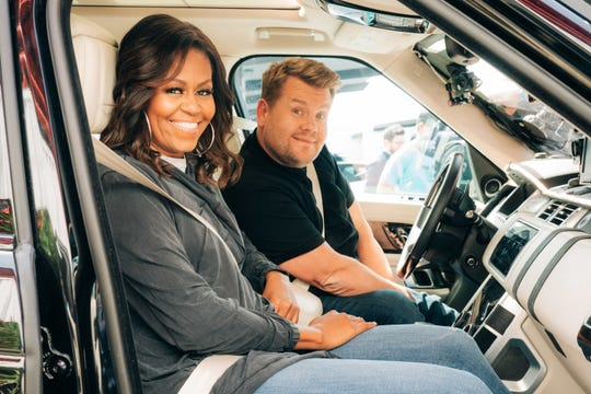 Former First Lady Michelle Obama, left,  leads Team USA against James Corden's U.K. squad in an epic dodgeball matchup on CBS' 'The Late Late Show' on Monday.