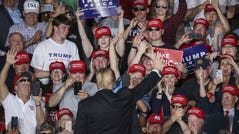 MONTOURSVILLE, PA - MAY 20: The crowd cheers as U.S. President Donald Trump waves at the end of a 'Make America Great Again' campaign rally at Williamsport Regional Airport, May 20, 2019 in Montoursville, Pennsylvania. Trump is making a trip to the swing state to drum up Republican support on the eve of a special election in Pennsylvania's 12th congressional district, with Republican Fred Keller facing off against Democrat Marc Friedenberg. (Photo by Drew Angerer/Getty Images) ORG XMIT: 775341208 ORIG FILE ID: 1145318072