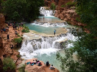 Beaver Falls has a series of blue-green waterfalls and is a popular attraction for visitors with permits to Havasupai.